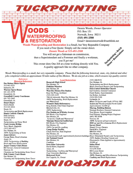 Woods Tuckpointing Flier